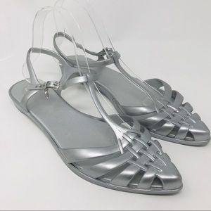 Melissa Silver Gray Jelly Strappy Sandals Flats